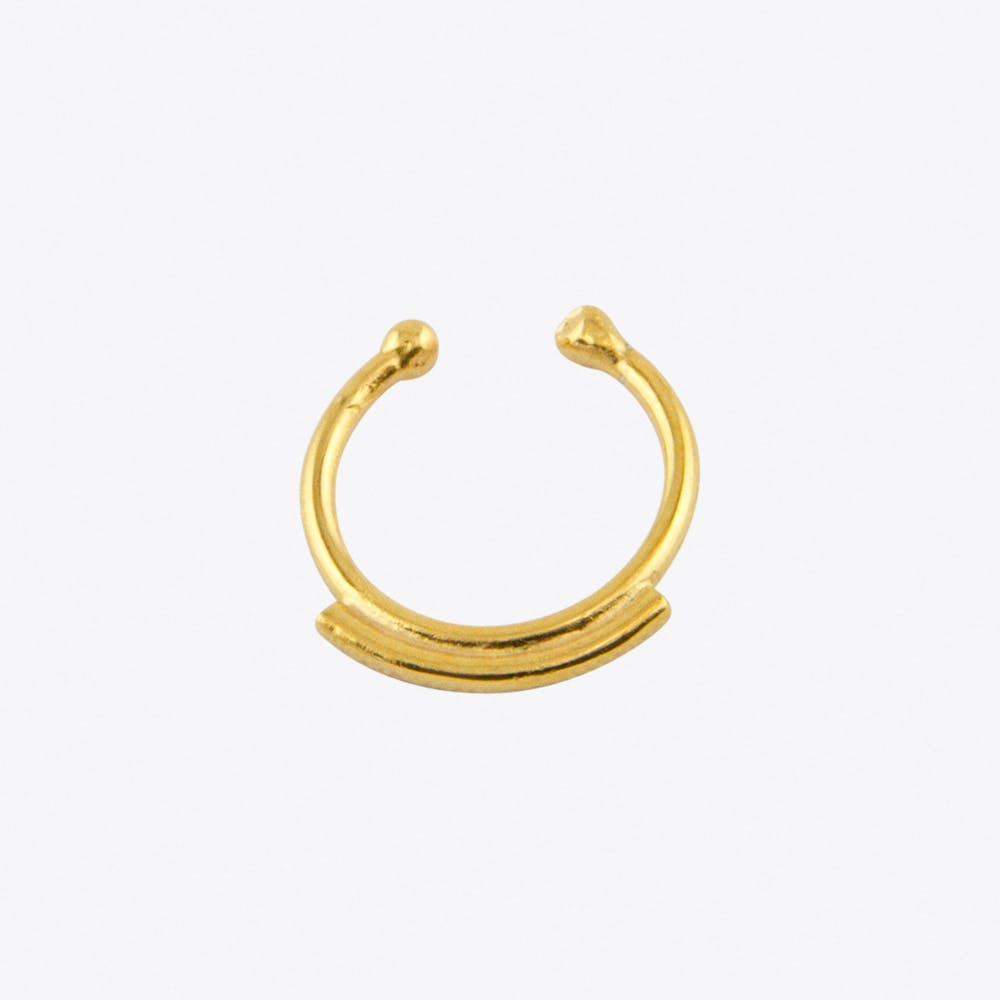 Line Fake Septum Hoop in Gold