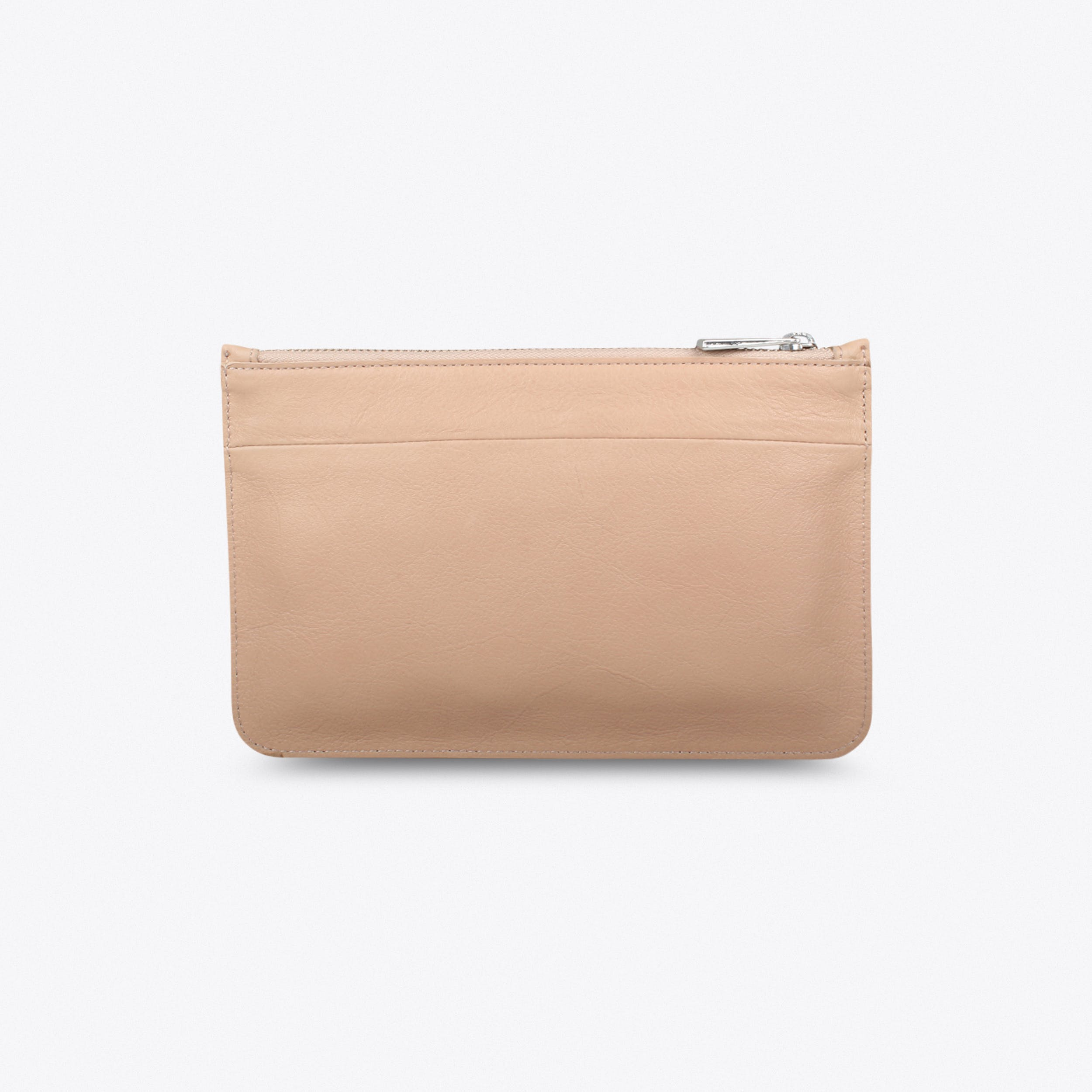 Leather Clutch In Beige