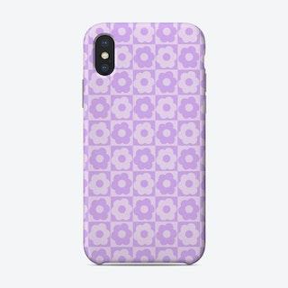Floral Checker Purple Phone Case