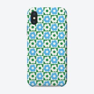 Floral Checker Green Blue Phone Case