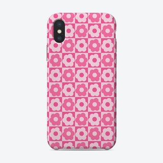 Floral Checker Pink Phone Case