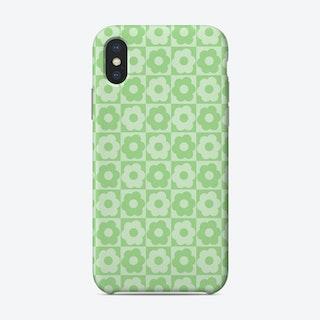 Floral Checker Green Phone Case