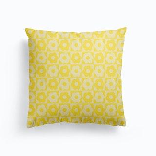Floral Checker Yellow Canvas Cushion