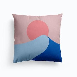 Waves At Sunset Canvas Cushion