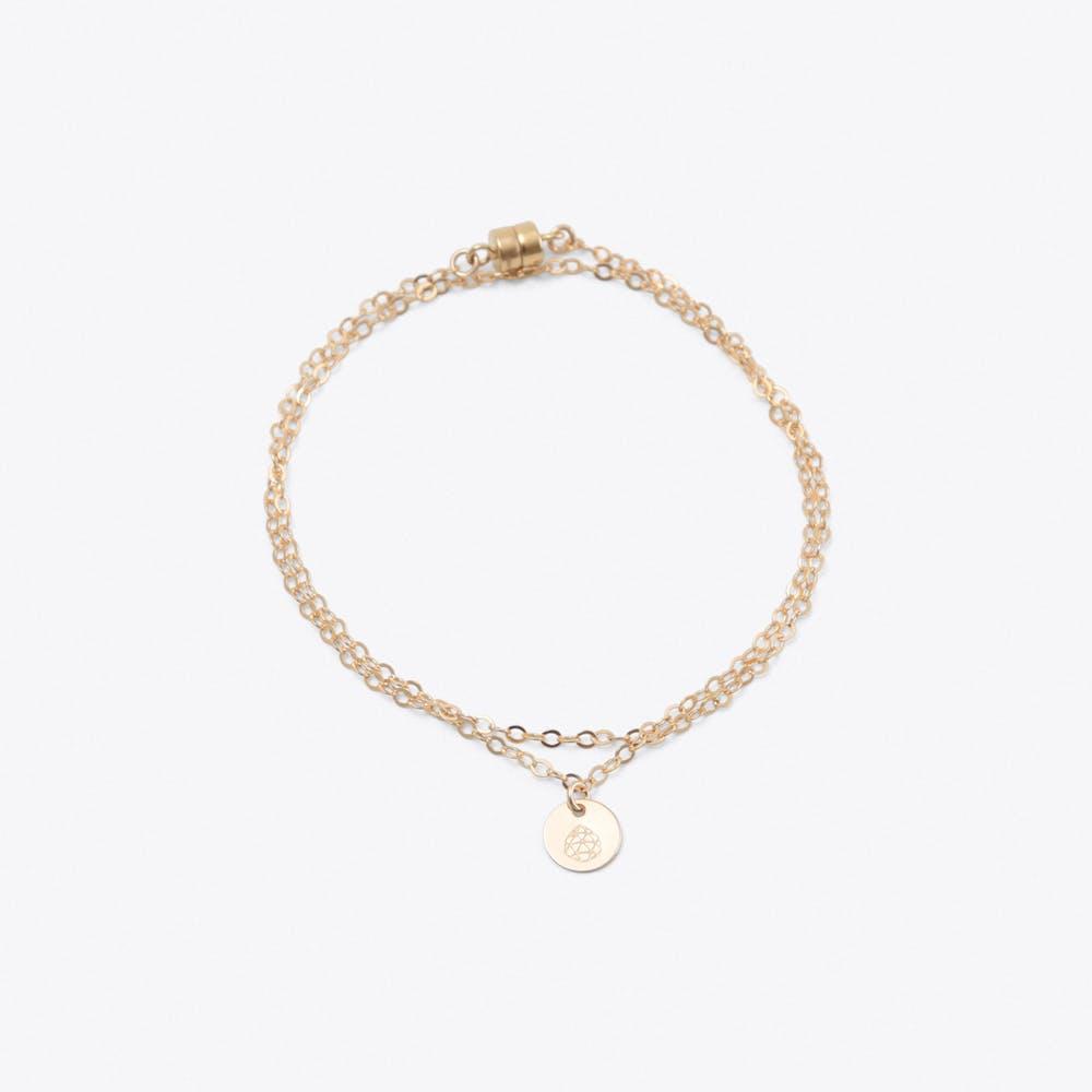 Gold Double Wrap Charm Bracelet