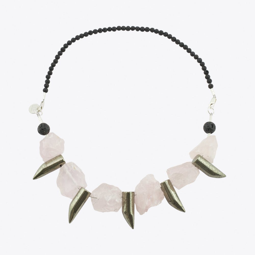 Claw it Up Necklace in Rose Quartz