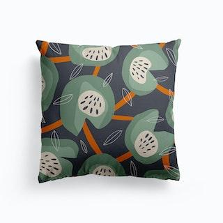 Green Leafy Canvas Cushion