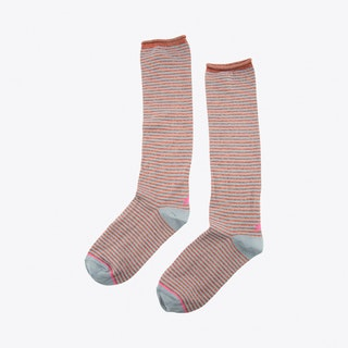 Lurex Lines Socks in Grey
