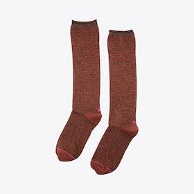 Lurex Lines Socks in Brown