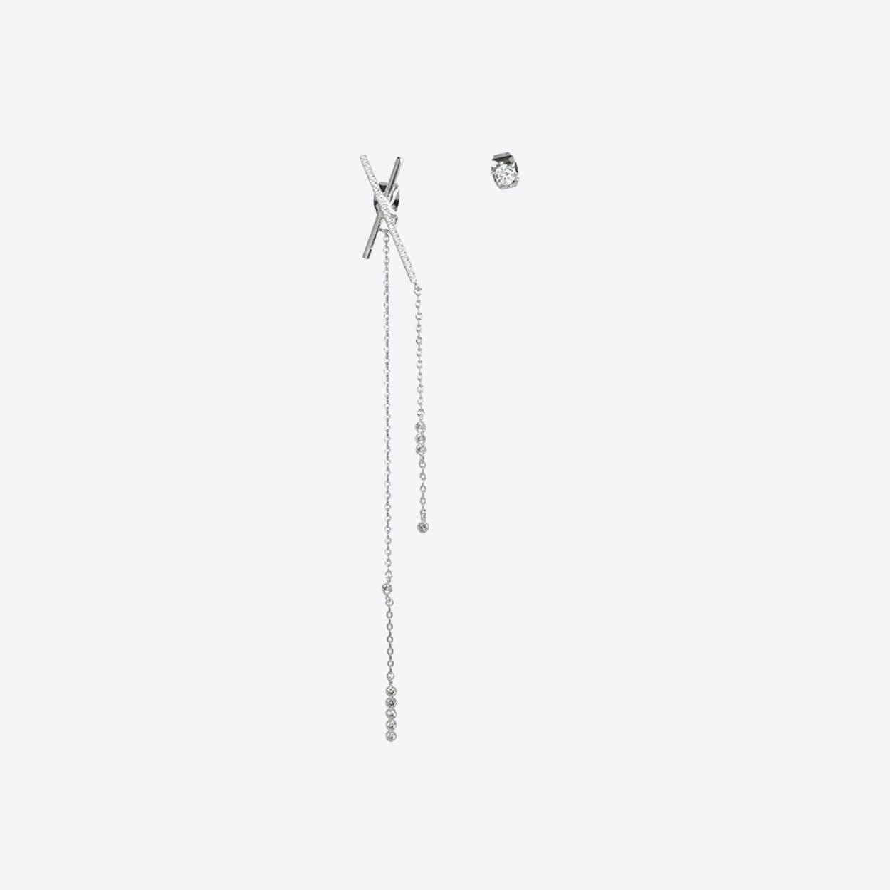 White Gold Asymmetric Statement Bar Earrings