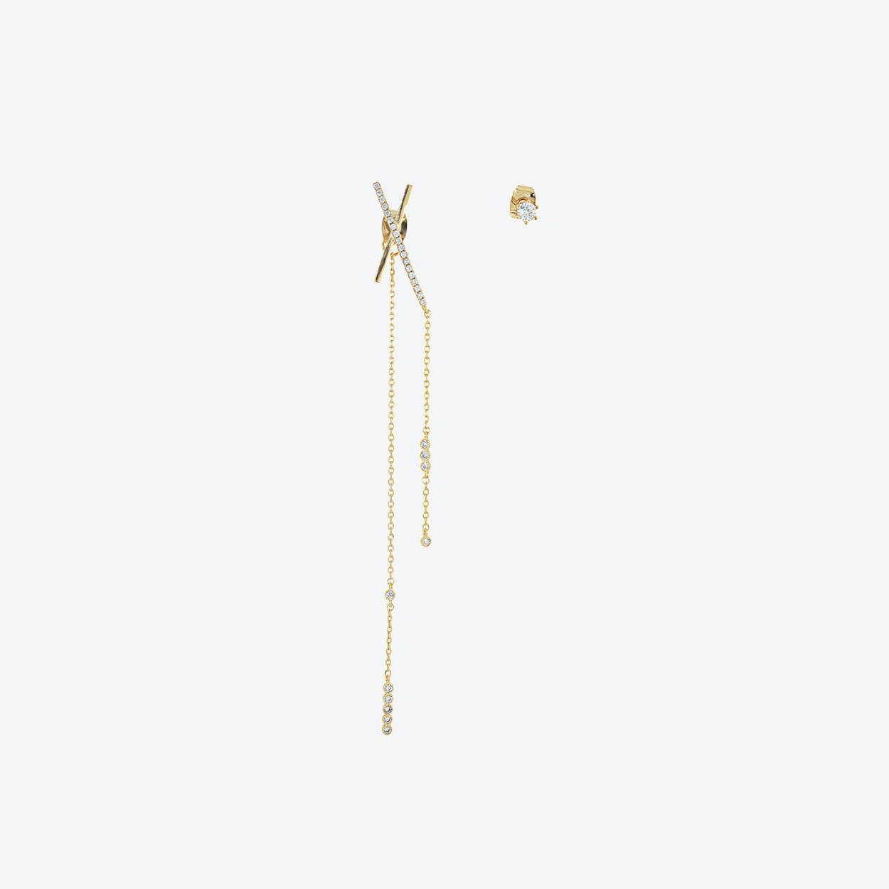 Gold Asymmetric Statement Bar Earrings