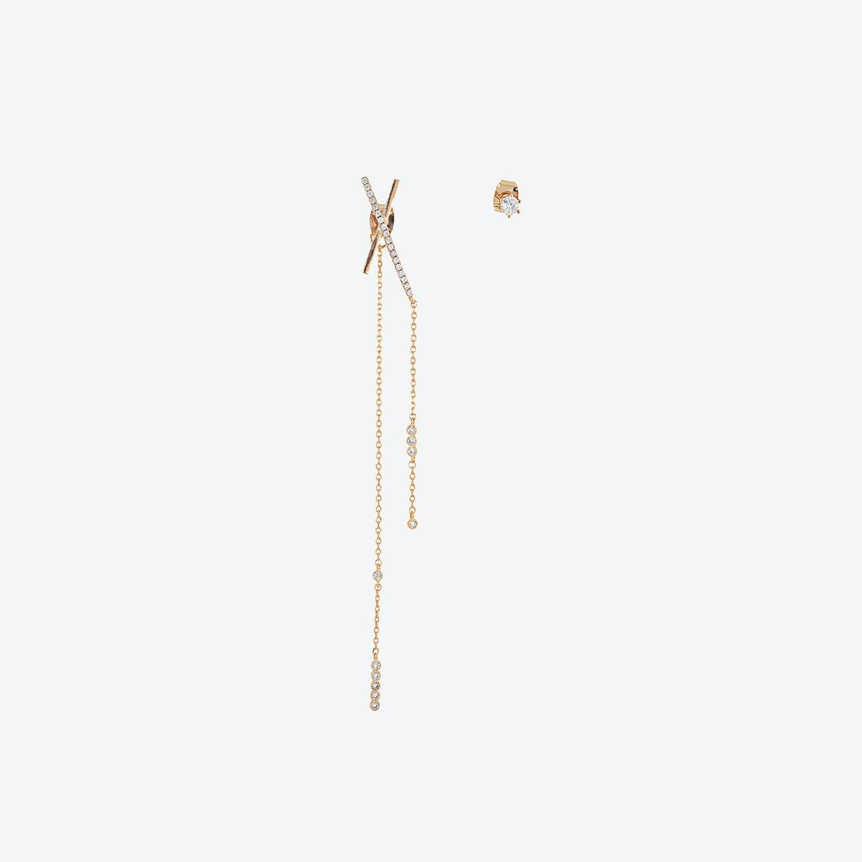 Rose Gold Asymmetric Statement Bar Earrings