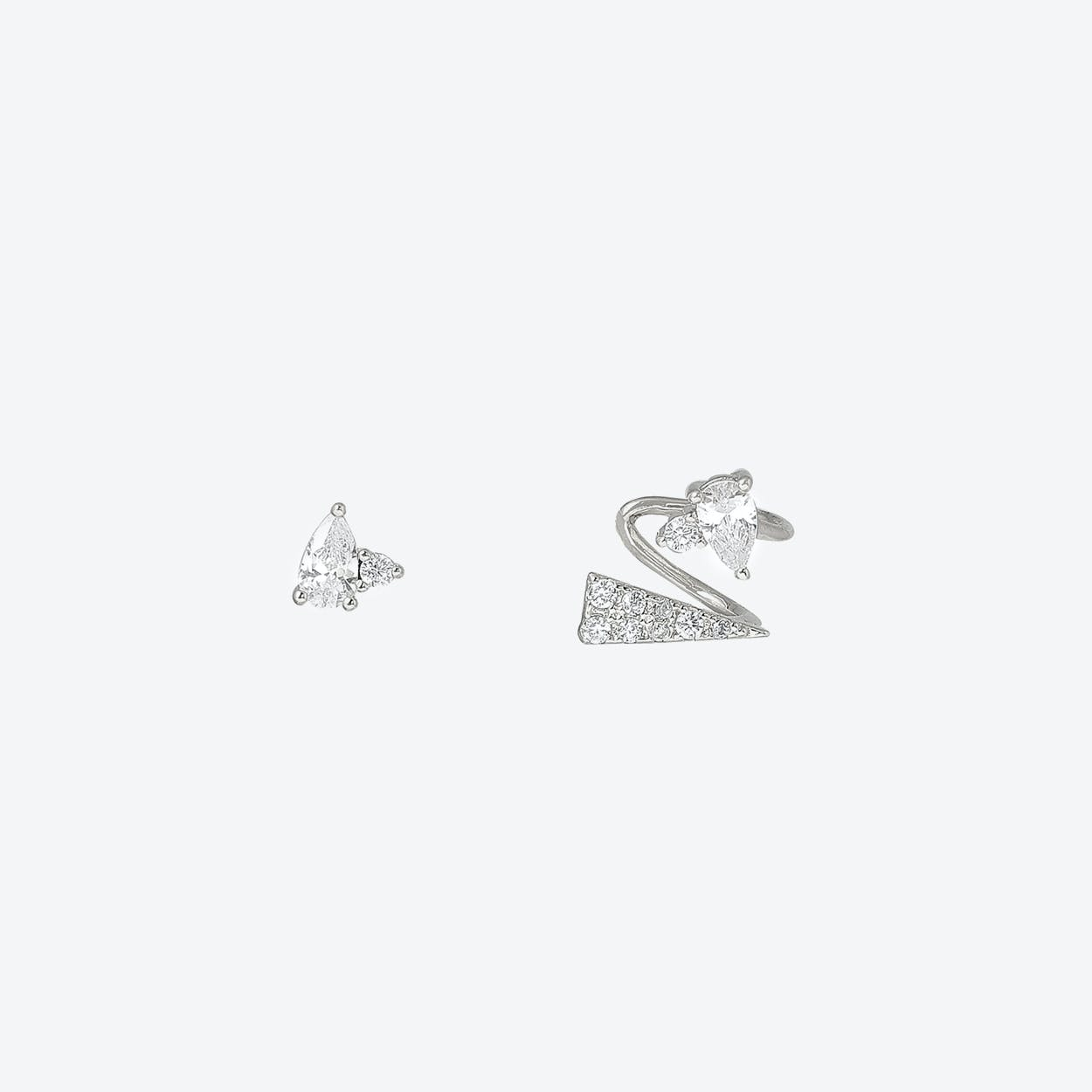 White Gold Asymmetric Stud & Ear Cuff