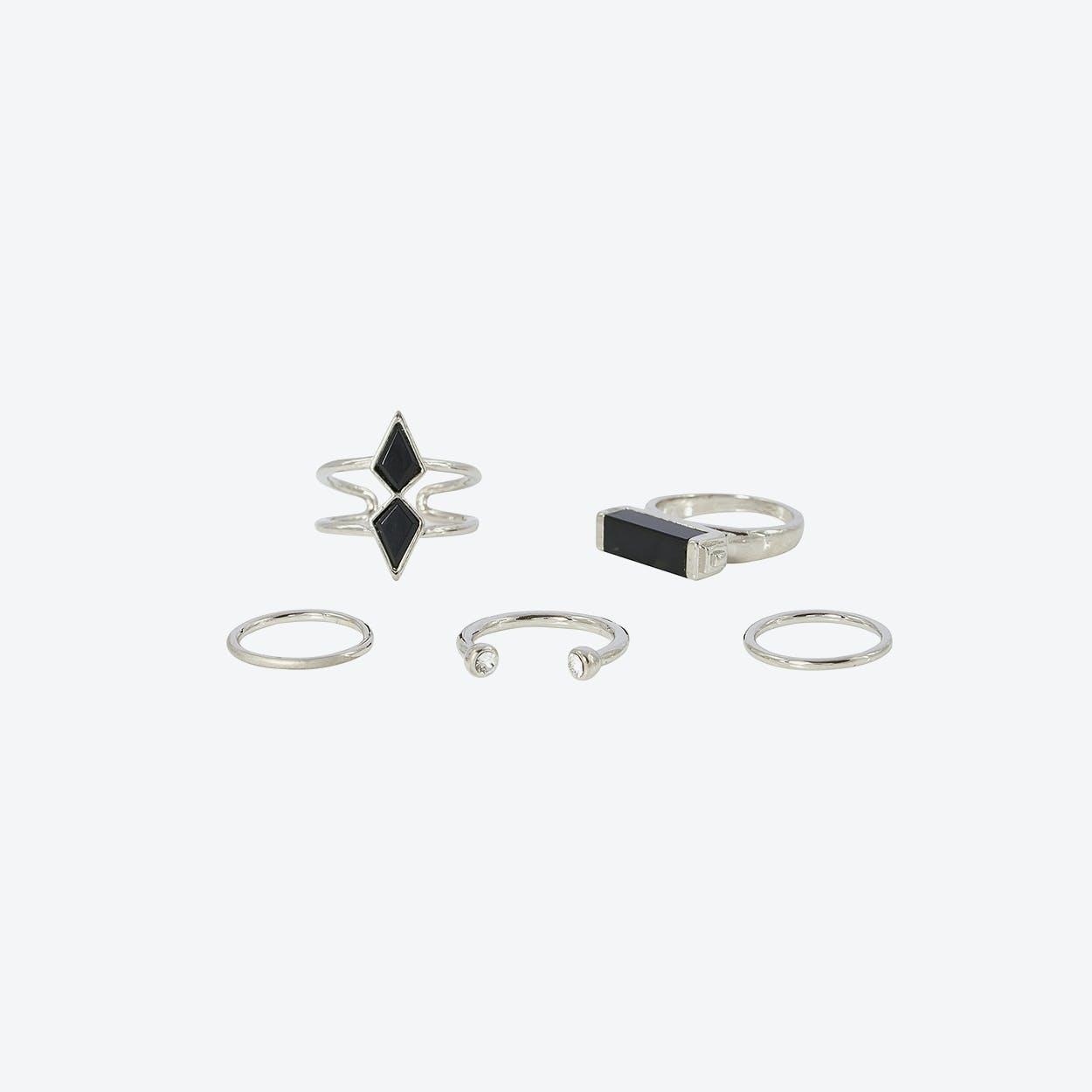 Black Boho Multi Ring Set - White Gold
