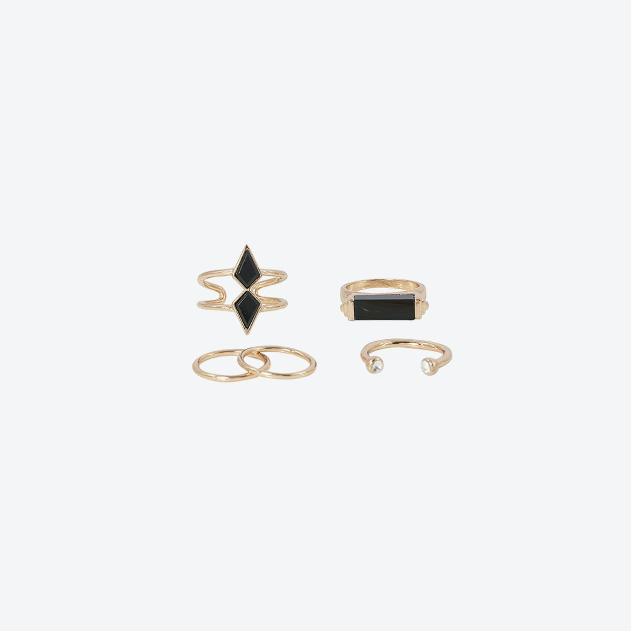 Black Boho Multi Ring Set - Gold