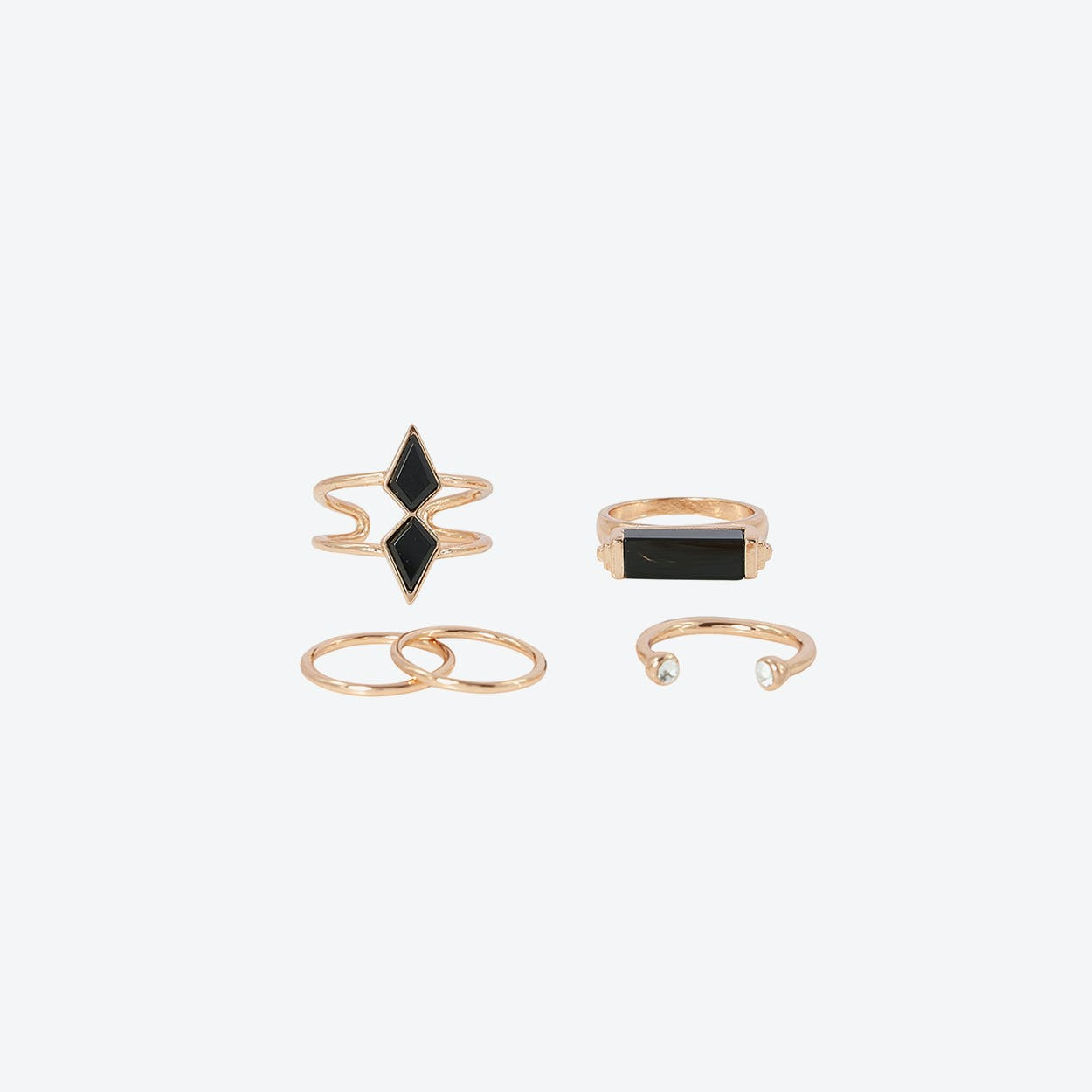 Black Boho Multi Ring Set - Rose Gold