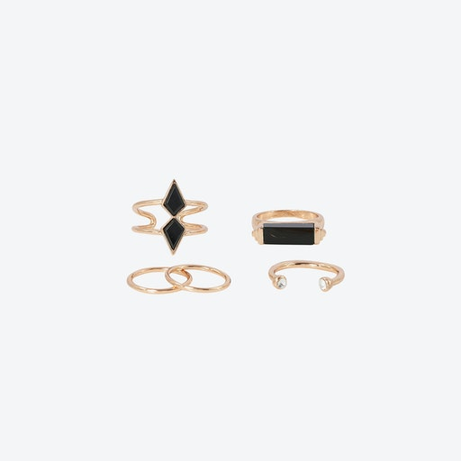 Black Boho Multi Ring Set - Rose Gold