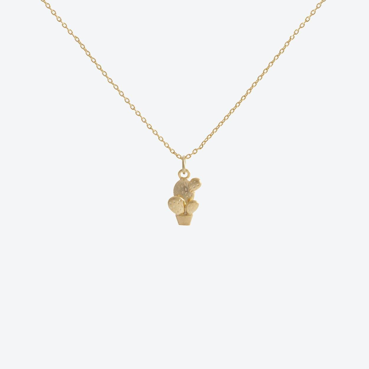 Gold Cactus Pendant