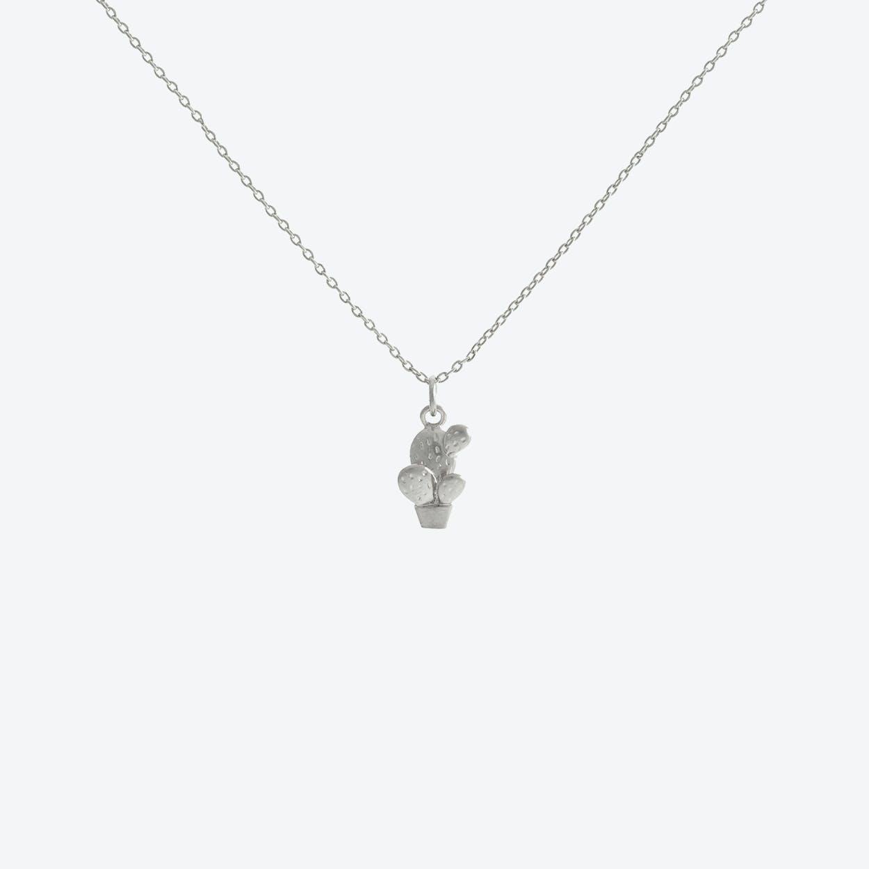 White Gold Cactus Pendant