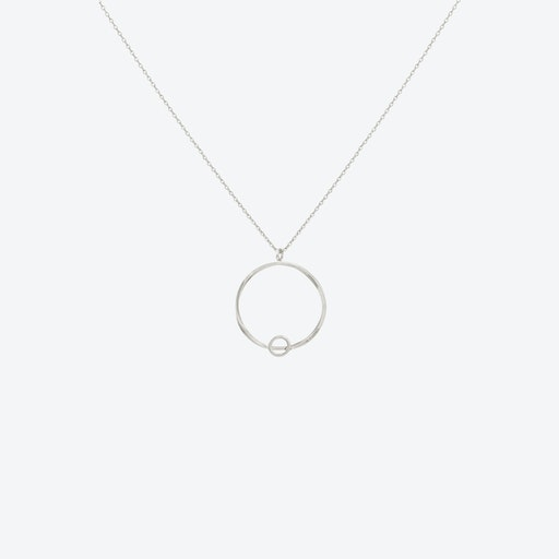 White Gold Circle Cut-Out Pendant