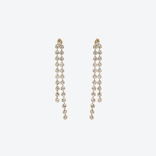 Gold Crystal Drops Long Chain Earrings
