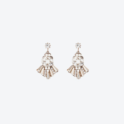 Diamante Cocktail Drop Earrings - White