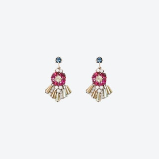 Diamante Cocktail Drop Earrings - Pink