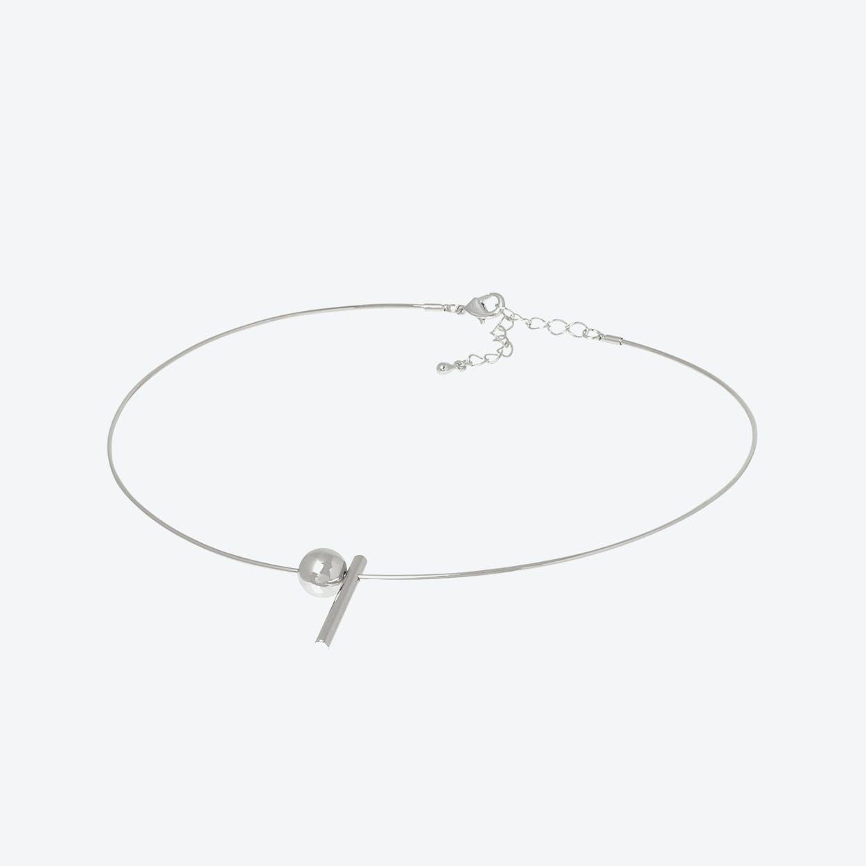 White Gold Geometric Charm Wire Choker