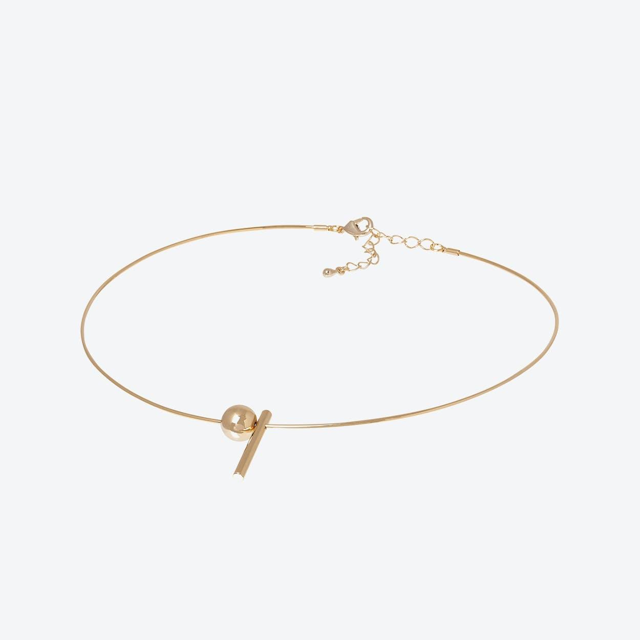 Gold Geometric Charm Wire Choker