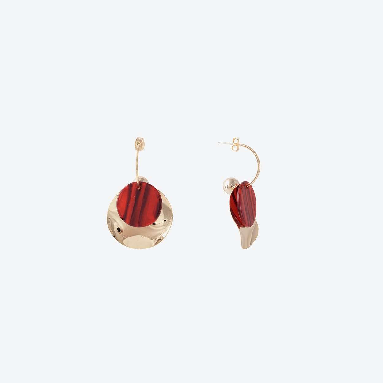 Gold Wave Disc Earrings - Red