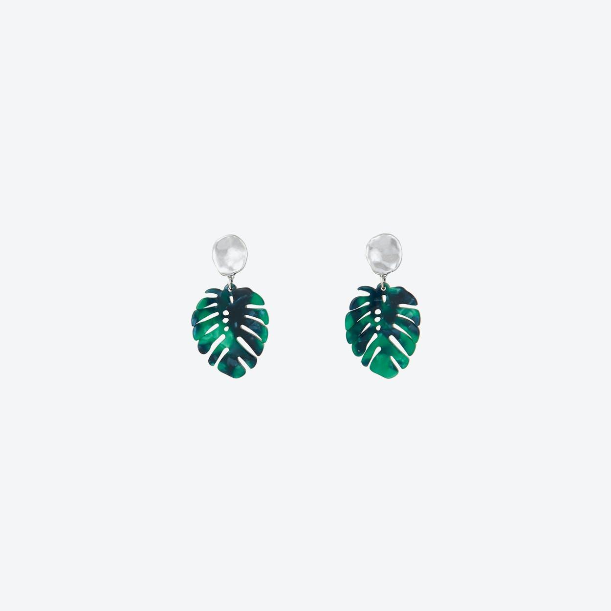 White Gold Leaf Drop Earrings