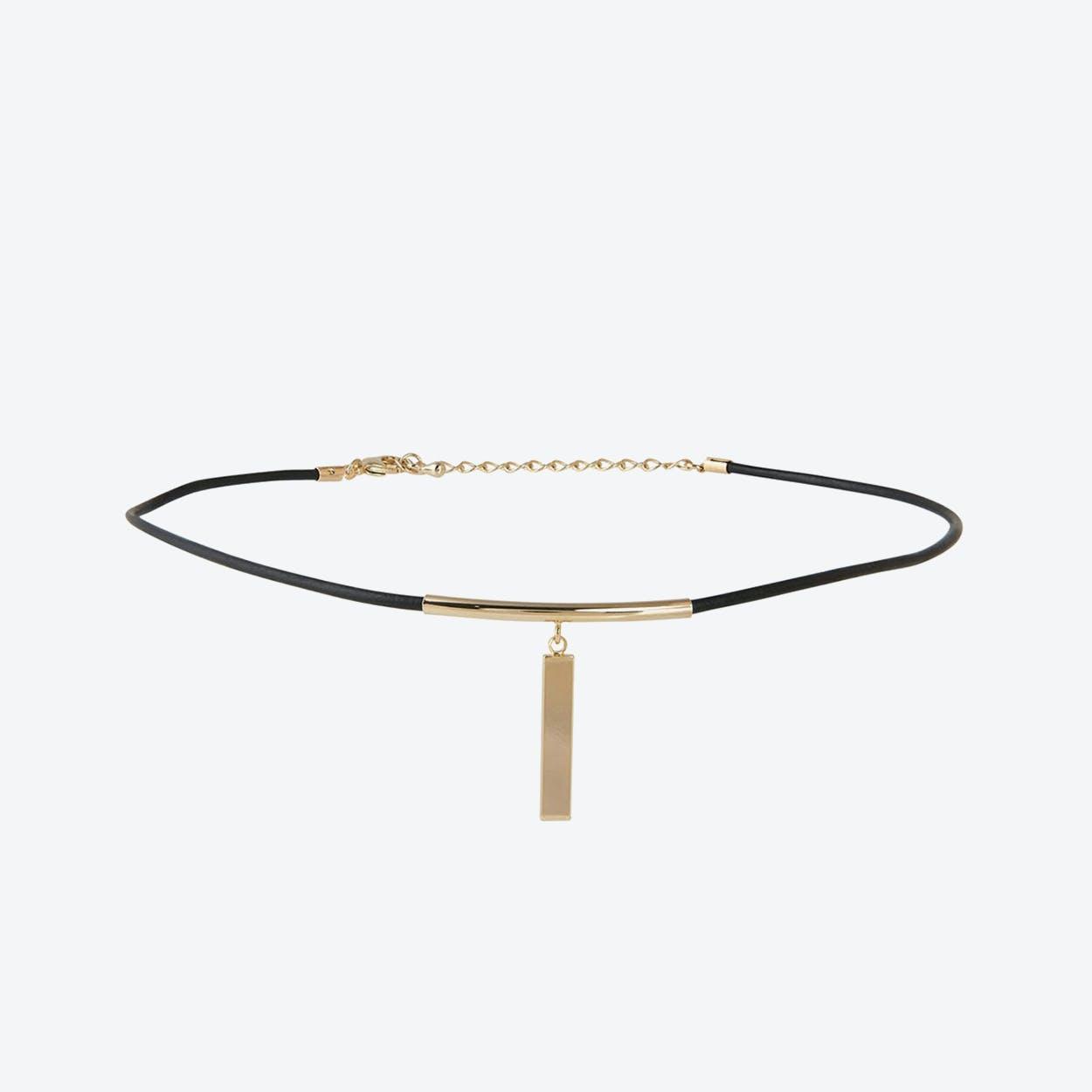 Leather & Bar Choker - Gold
