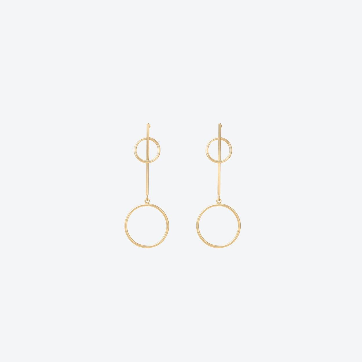 Long Drop Double Ring Earrings