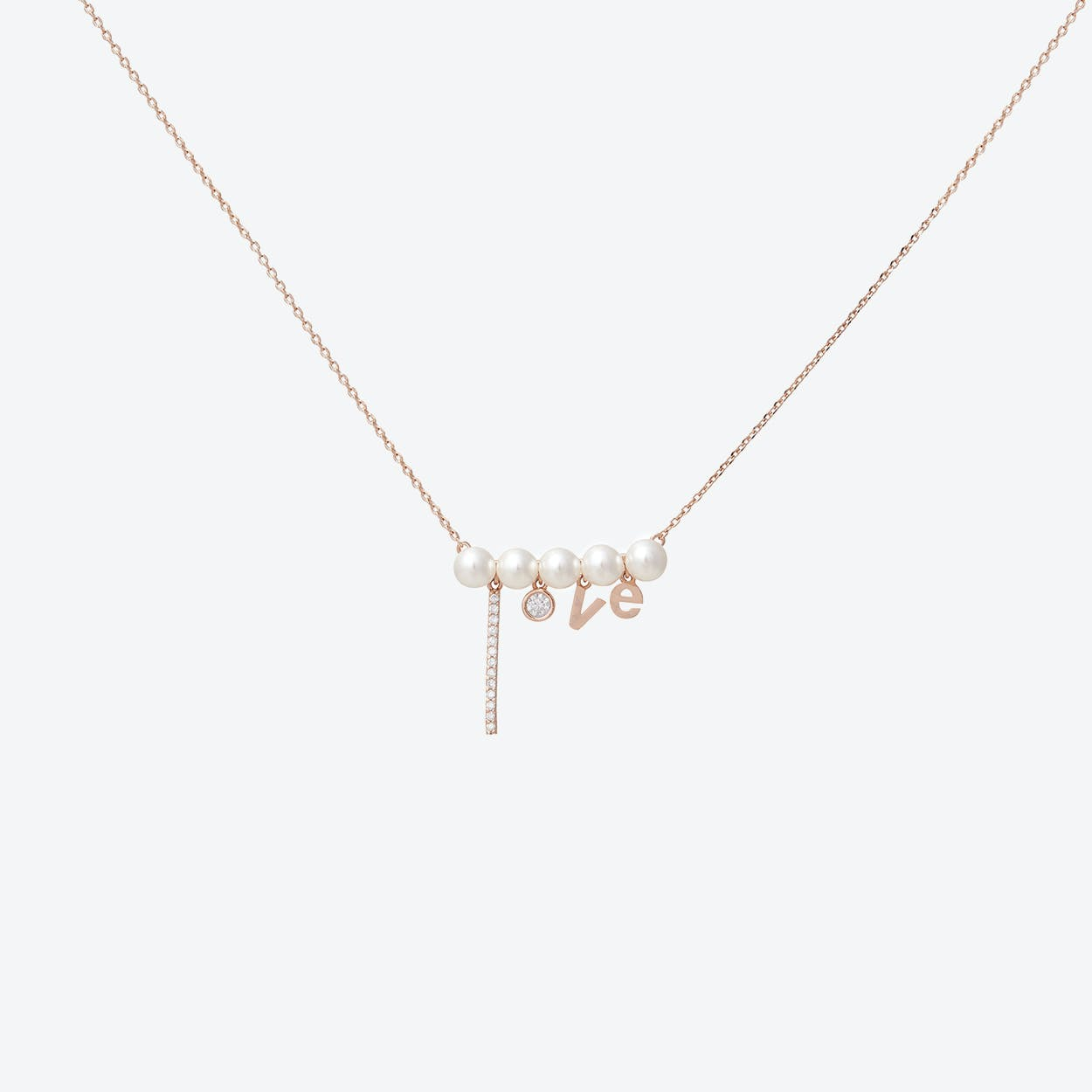 Love Pearl & Rose Gold Necklace