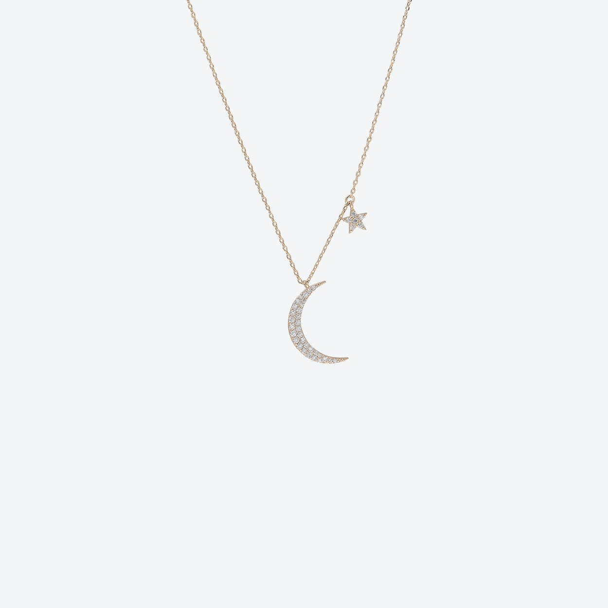 Gold Moon & Star Charm Necklace