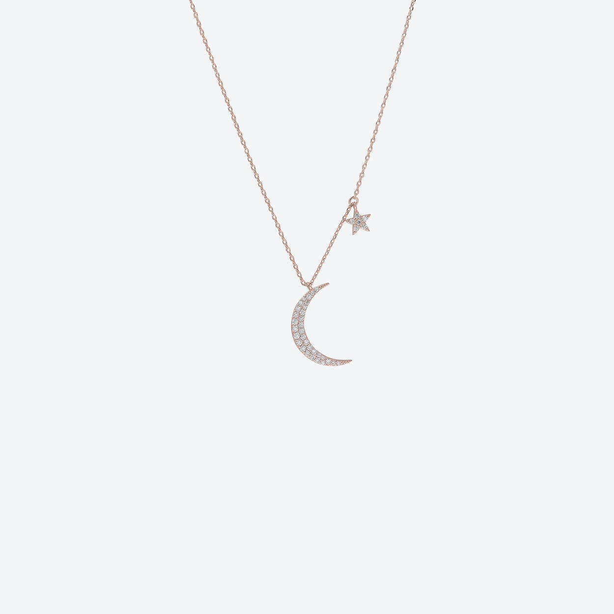 Rose Gold Moon & Star Charm Necklace