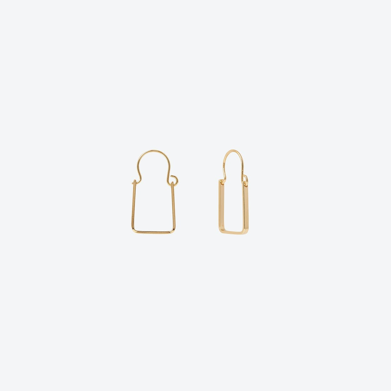 Gold Rectangle Hoop Earrings
