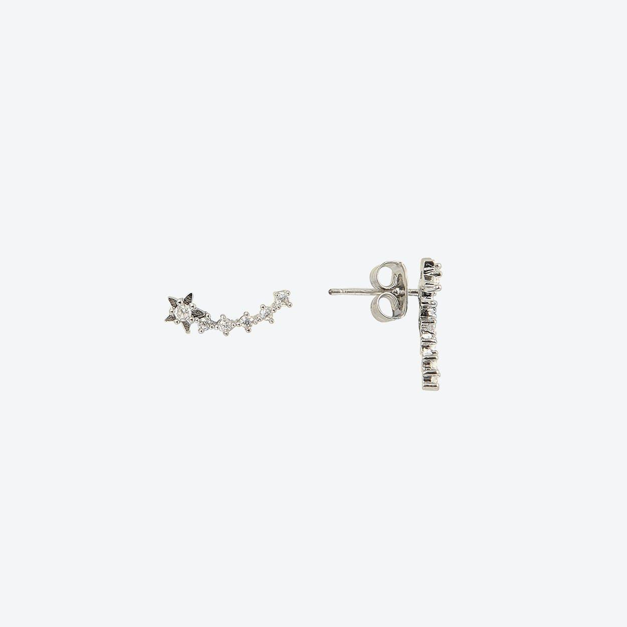 White Gold Shooting Star Stud Earrings