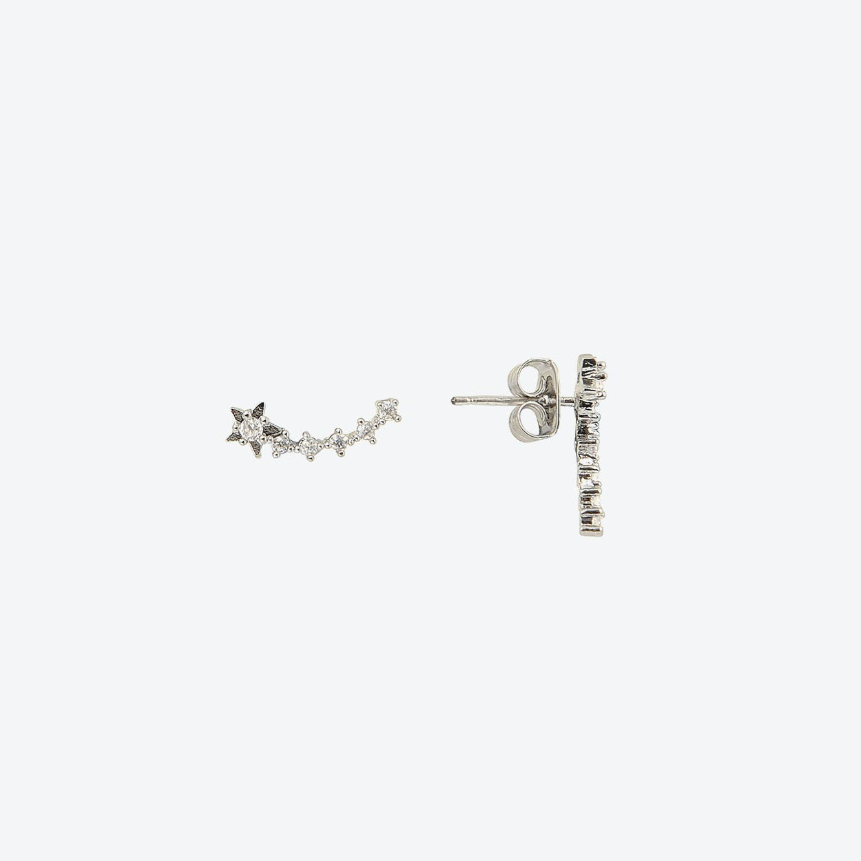 White Gold Shooting Star Stud Earrings