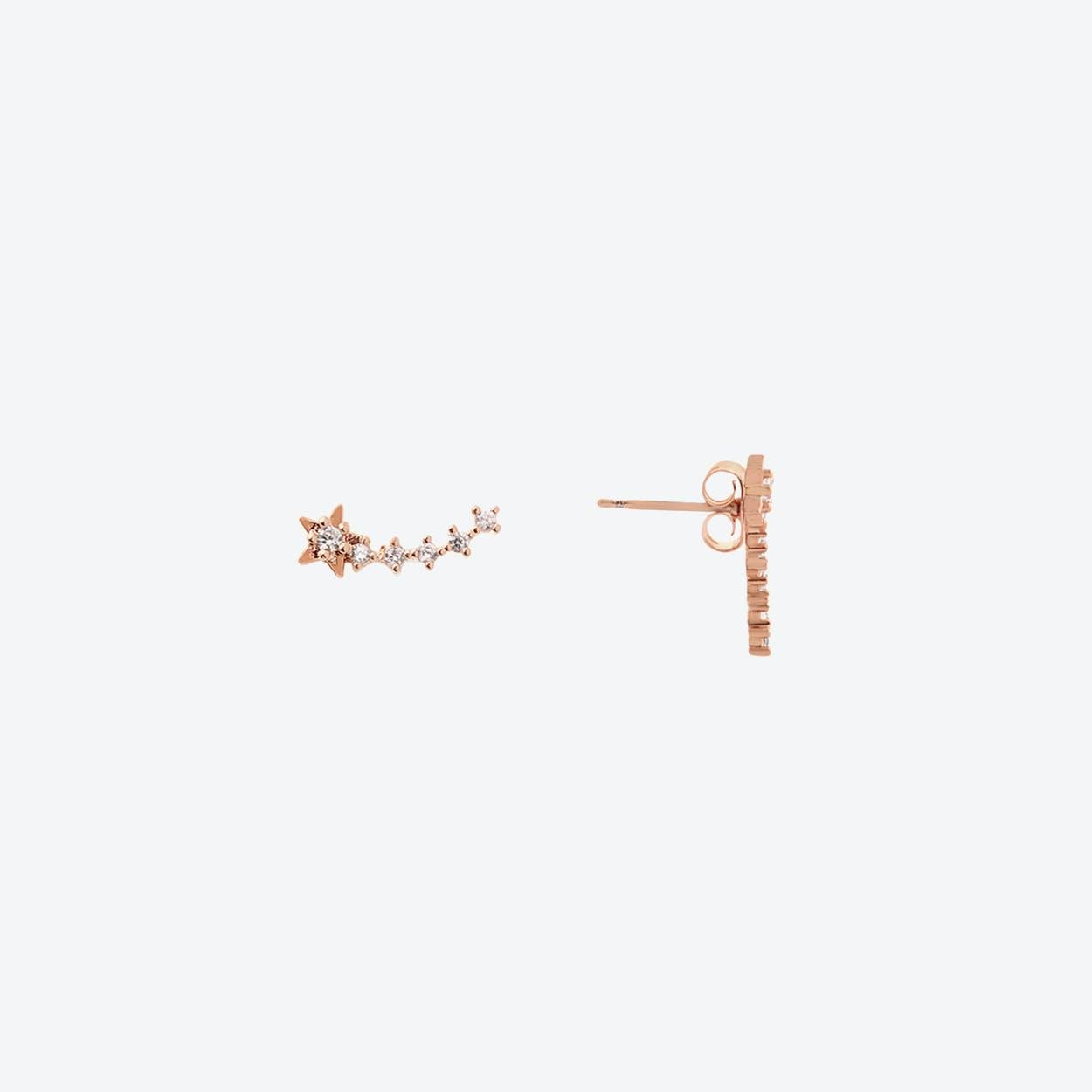 Rose Gold Shooting Star Stud Earrings