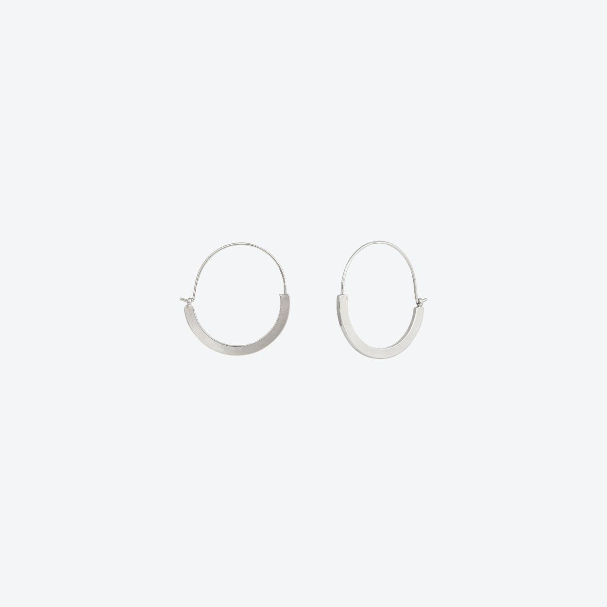 Sleek White Gold Hoop Earrings