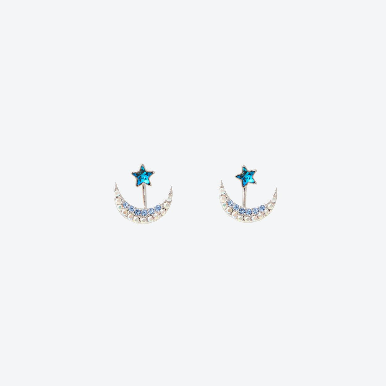 Star with Crescent Two-Way Earrings - Blue