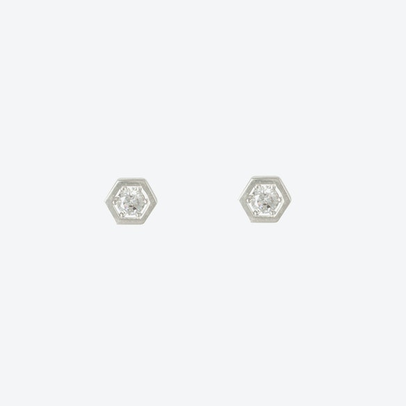 8ac56b63b Sterling Silver Hexagon Cubic Stud Earrings by DOSE of ROSE - Fy