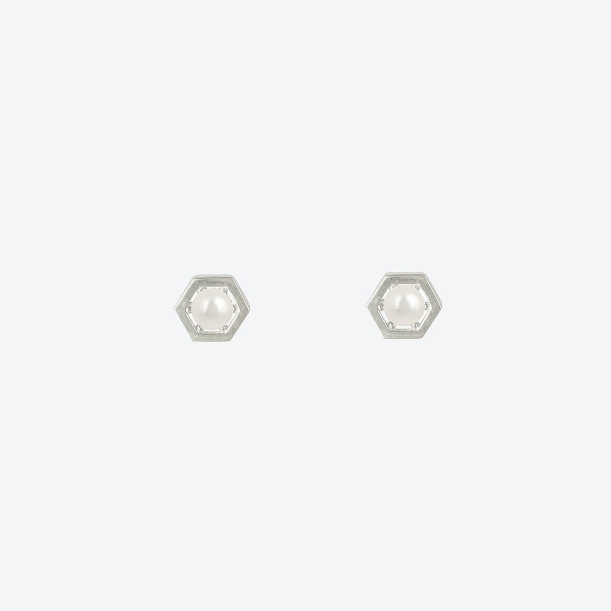 Sterling Silver Hexagon Pearl Centre Earrings