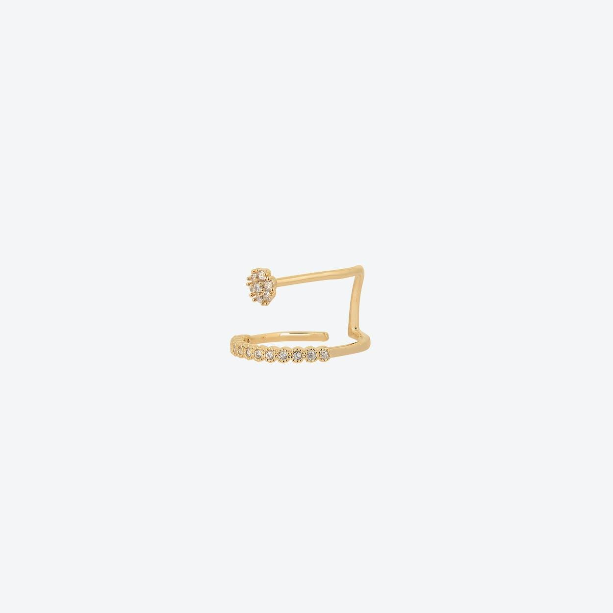 Gold Tiny Flower Aside Ring