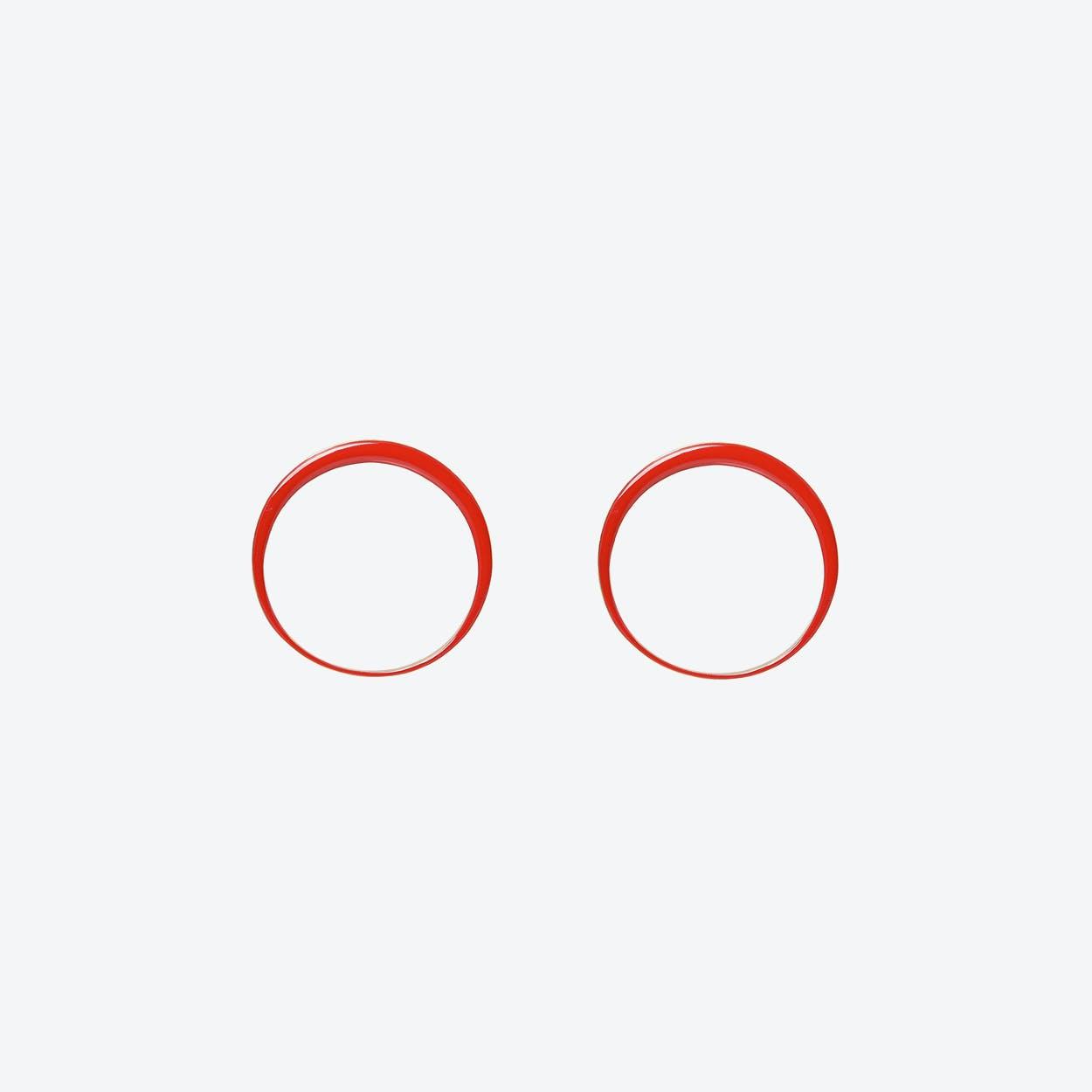 Red Retro Hoop Earrings