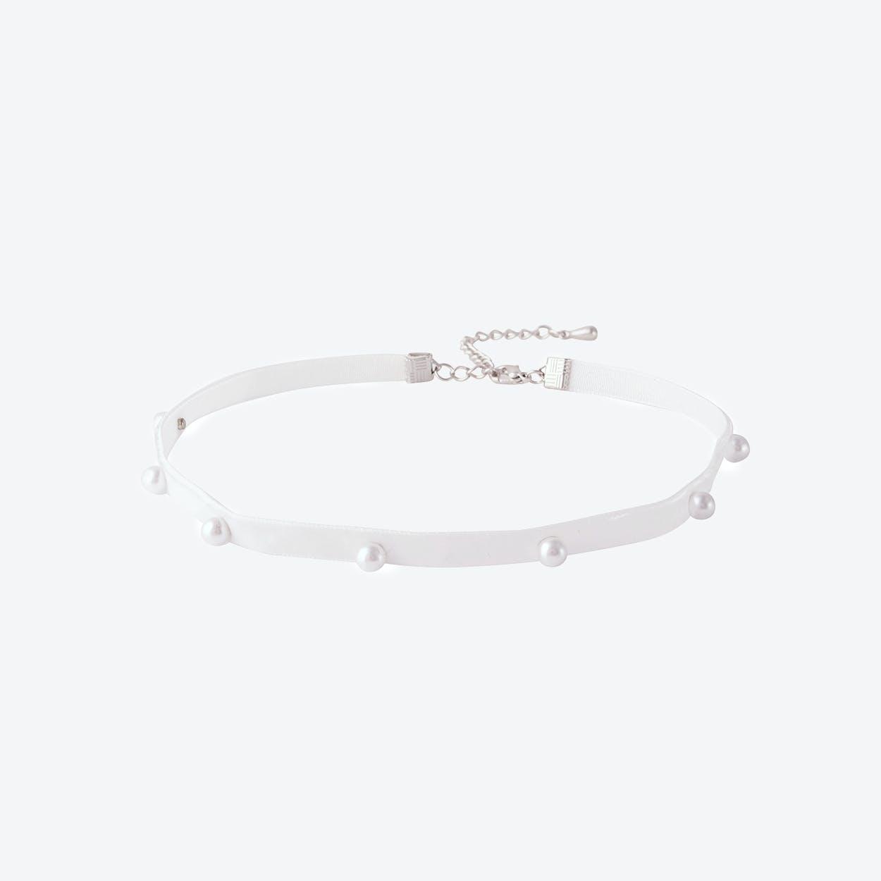 White Pearl Dot Choker