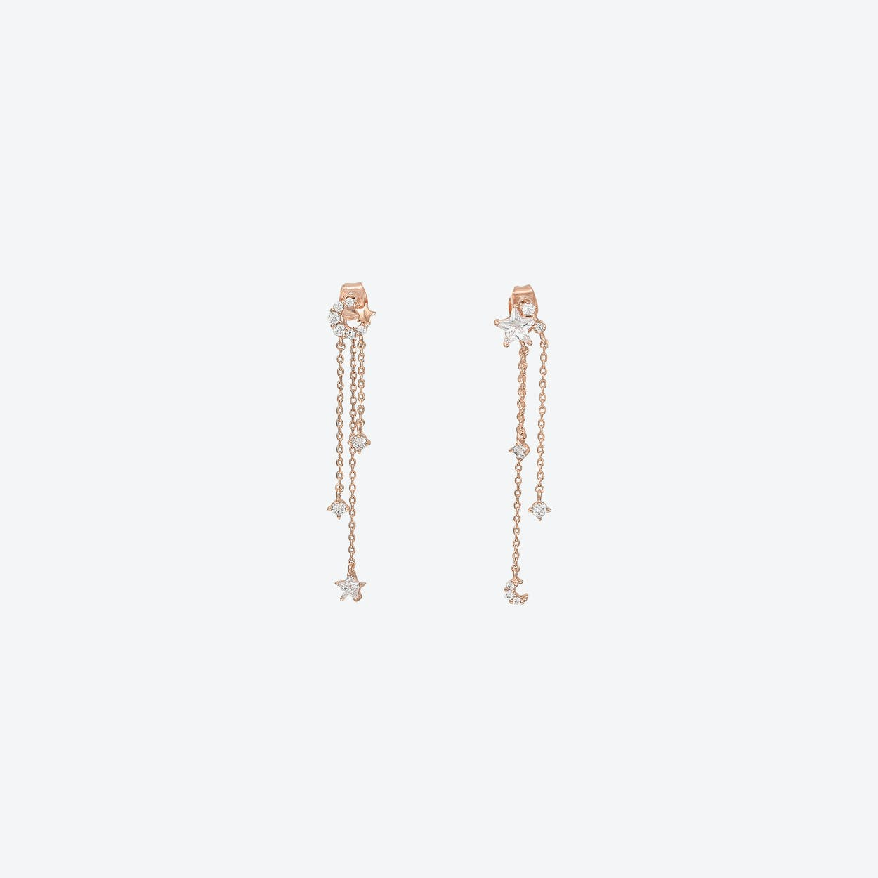 Celestial Asymmetric Long Chain Earrings In Rose Gold