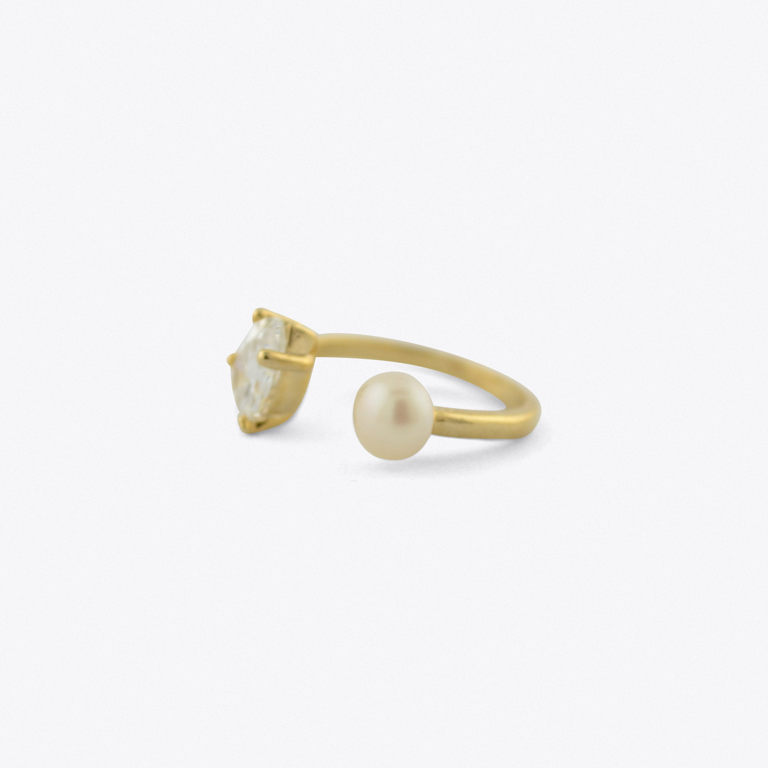 Teardrop And Pearl Ring In Gold