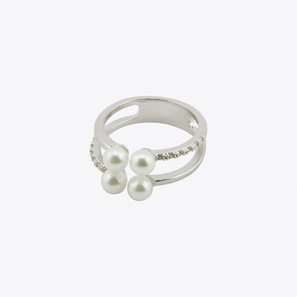 Pearl Cubic Ring in White Gold